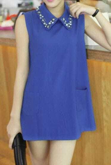 Blue Vintage Lapel Sleeveless Crystal Pockets Shirt