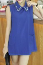 Blue Vintage Lapel Sleeveless Crystal Pockets Shirt