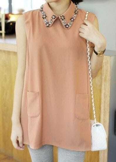 Pink Vintage Lapel Sleeveless Crystal Pockets Shirt