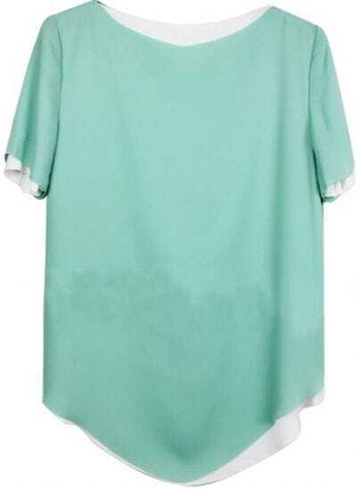 Light Green Vintage Boat Neck Short Sleeve Chiffon Shirt