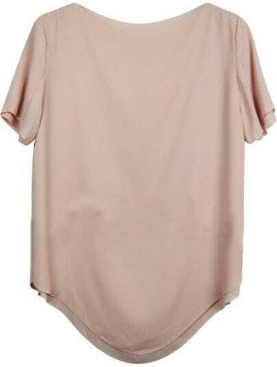 Nude Vintage Boat Neck Short Sleeve Chiffon Shirt