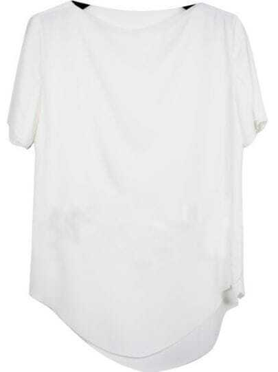 White Vintage Boat Neck Short Sleeve Chiffon Shirt