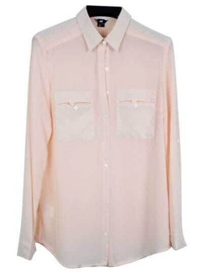 Light Pink Lapel Long Sleeve Single Breasted Pockets Chiffon Shirt