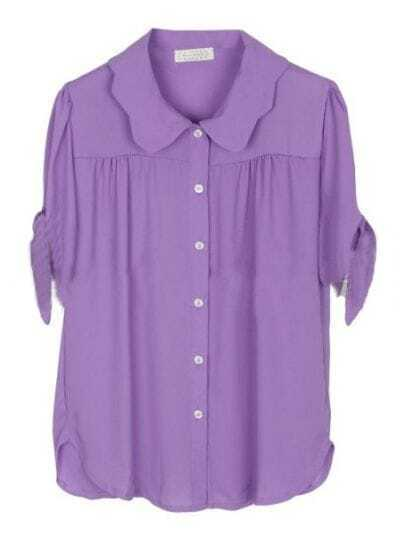 Purple Lapel Short Sleeve Single Breasted Pleated Chiffon Shirt
