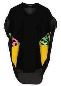 Black Round Neck Short Sleeve Batwing Chiffon Shirt