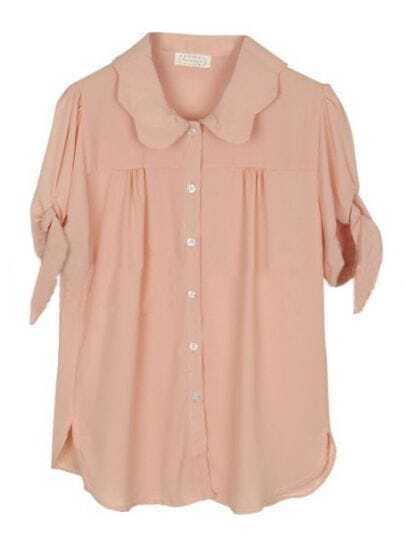 Orange Lapel Short Sleeve Single Breasted Pleated Chiffon Shirt