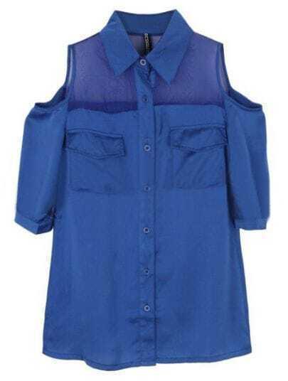 Blue Lapel Half Sleeve Off the Shoulder Sheer Mesh Yoke Shirt