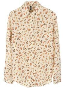Beige Lapel Long Sleeve Pencil Print Single Breasted Shirt