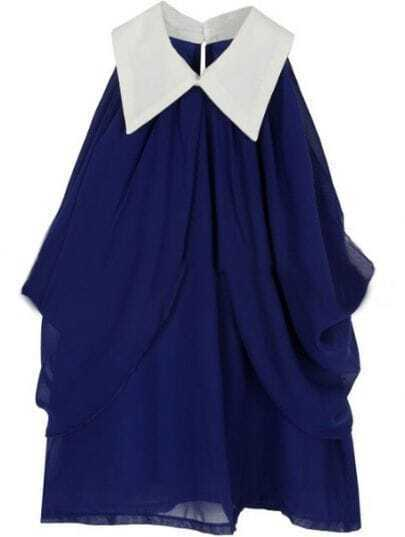 Blue Lapel Sleeveless Pleated Buttons Shirt