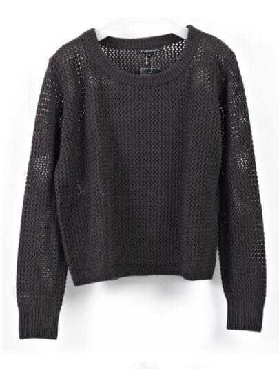 Black Round Neck Long Sleeve Hollow Cotton Sweater