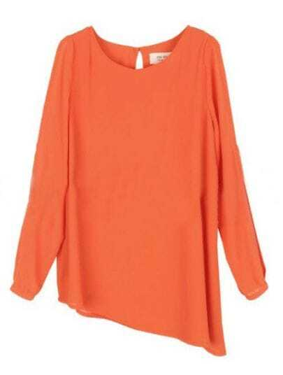 Orange Round Neck Long Sleeve Asymmetrical Chiffon Shirt