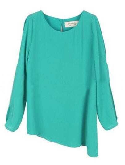 Blue Round Neck Long Sleeve Asymmetrical Chiffon Shirt