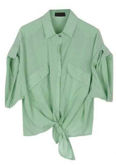 Light Green Lapel Long Sleeve Single Breasted Loose Shirt