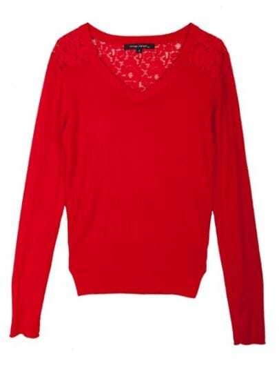 Red V Neck Long Sleeve Hollow Lace Floral Sweater