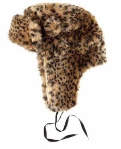 Brown Leopard Print Faux Fur Trapper Hat