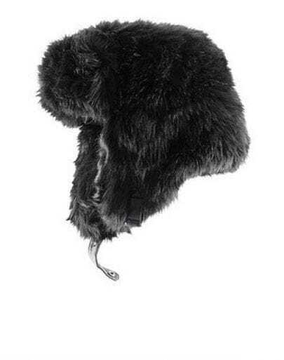 Black Print Faux Fur Trapper Hat