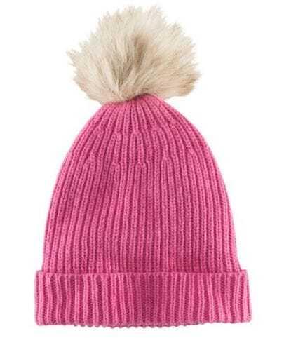 Pink Rib Knit Pom Beanie