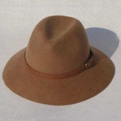 Brown Wool Contrast Belted Fedora