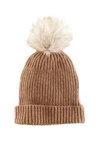 Coffee Rib Knit Pom Beanie