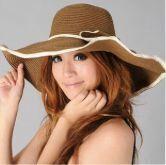 Camel Floppy Contrast Trims Bowknot Hat