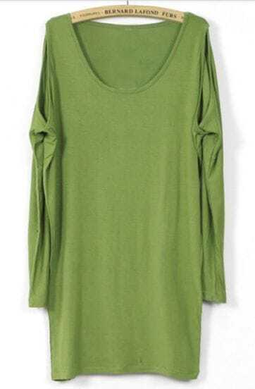 Green Scoop Neck Split Detail Long Sleeve T-Shirt