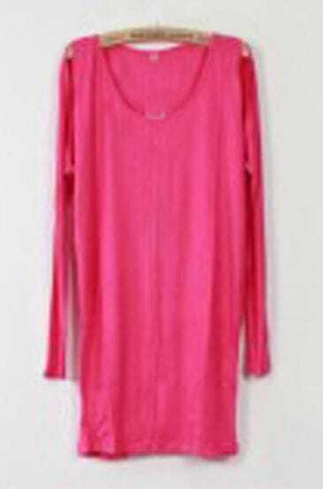 Rose Scoop Neck Split Detail Long Sleeve T-Shirt