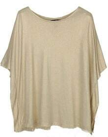 Ivory Metallic Batwing Short Sleeve Round Neck T-Shirt