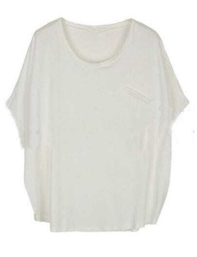 White Batwing Round Neck Single Pocket Modal T-Shirt