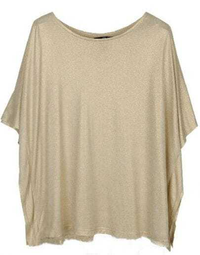 Ivory Metallic Batwing Short Sleeve Round Neck T-Shirt
