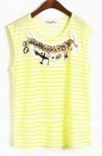 Yellow Stripes Applique Round Neck Cotton Sleeveless T-Shirt