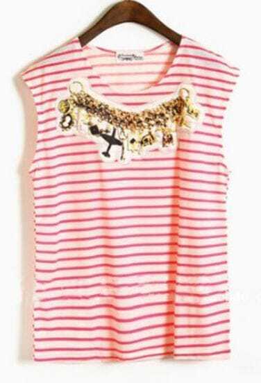 Pink Stripes Applique Round Neck Cotton Sleeveless T-Shirt