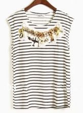 Black Stripes Applique Round Neck Cotton Sleeveless T-Shirt