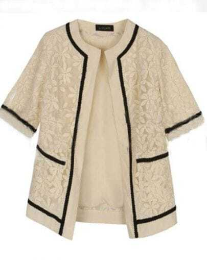Beige Short Sleeve Camellia Embroidered Mesh Yarn Outerwear