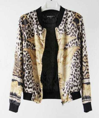 Vintage Black Leopard Animal Print Zipper Silk Bomber Jacket