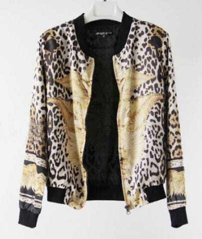 Vintage Black Leopard Animal Print Zipper Silk Bomber Jacket