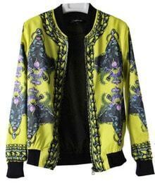 Vintage Yellow Leopards Print Zipper Silk Bomber Jacket