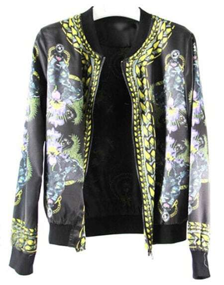 Vintage Black Leopards Print Zipper Silk Bomber Jacket -SheIn ...