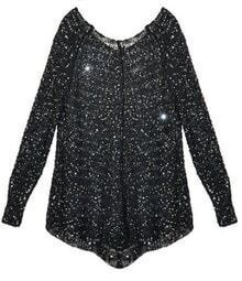 Black V Neck Hollow Long Sleeve Metallic Knit Sweater