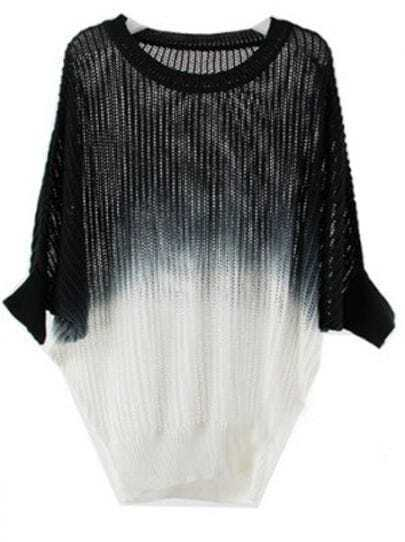 Black White Gradient Knit Holey Texture Batwing Sweater