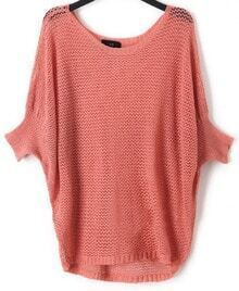 Pink Crocheted Hollow Big Batwing Long Sleeve Sweater