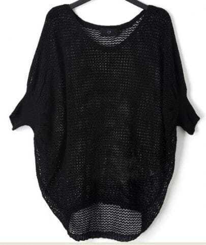 Black Crocheted Hollow Big Batwing Long Sleeve Sweater