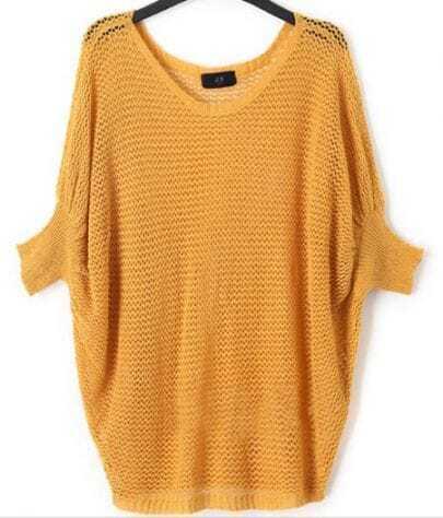 Turmeric Crocheted Hollow Big Batwing Long Sleeve Sweater