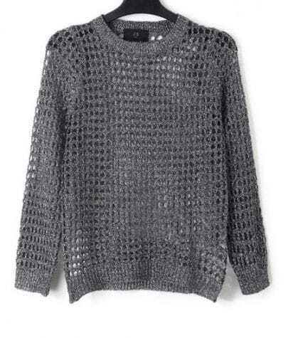 Silver Crew Neck Grey Open Mesh Stitch Long Sleeve Sweater