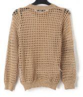 Glod Crew Neck Open Mesh Stitch Long Sleeve Sweater