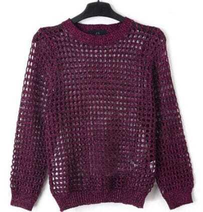 Purple Crew Neck Open Mesh Stitch Long Sleeve Sweater
