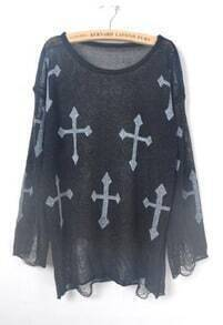 Black Cross Print Distressed Long Sleeve Jumper