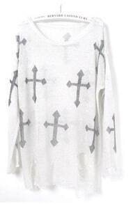 White Cross Print Distressed Long Sleeve Jumper
