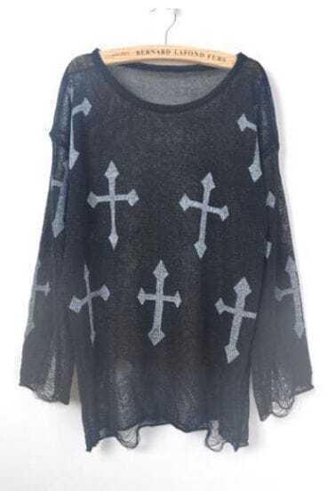 Black Cross Print Distressed Long Sleeve Jumper