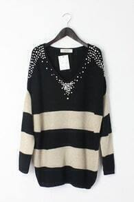Black White Stripes Pearls Beading V-neck Long Sleeve Jumper