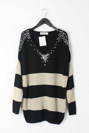 Black White Stripes Pearls Beading V-neck Long Sleeve Jumper